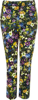 Topshop Floral Print Cigarette Trousers