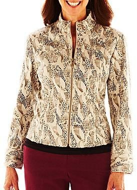 JCPenney Lark Lane® Patch Works Faux-Fur Zip-Front Jacket with Foil