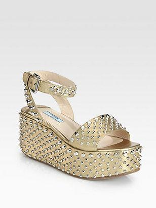 Prada Studded Saffiano Metallic Leather Wedge Sandals