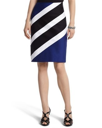 White House Diagonal Striped Pencil Skirt