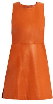 Richard Nicoll Leather box-pleat dress