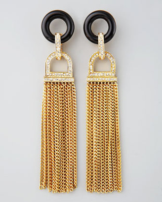Rachel Zoe Rhinestone Tassel Earrings, Black Quartz