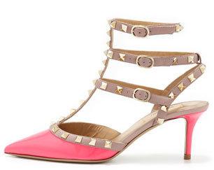 Valentino Rockstud Patent Low-Heel Slingback, Pink
