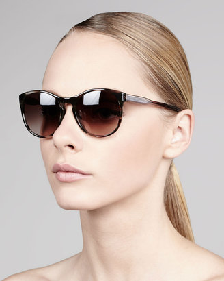 Carolina Herrera Round Tortoise Sunglasses, Brown/Clear
