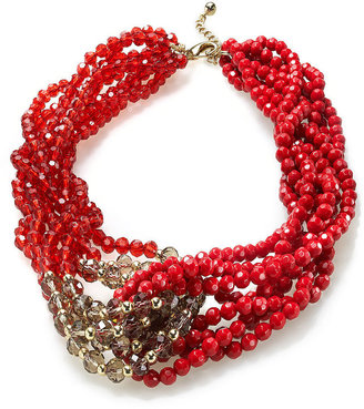 Charter Club Gold-Tone Red and Clear Bead Torsade Necklace