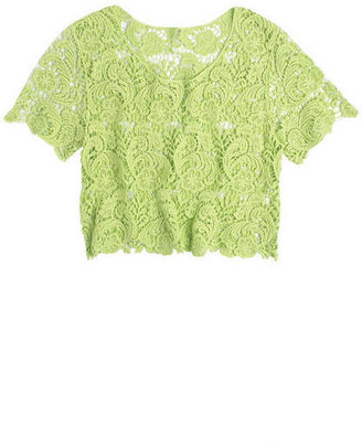 Delia's Crop Lace Short Sleeve