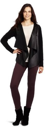 DKNY DKNYC Women's Long Sleeve Real Leather Front Cozy Jacket