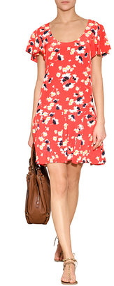 Juicy Couture Silk Feather Floral Print Dress in Persimmon