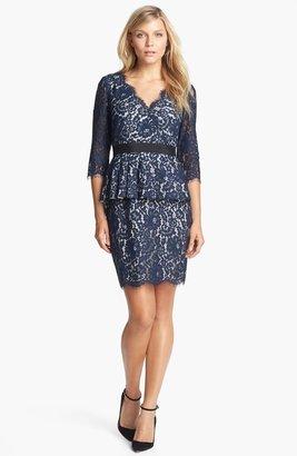 Eliza J Lace Peplum Sheath Dress