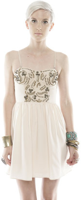 Ladakh Cream Beaded Bodice dress
