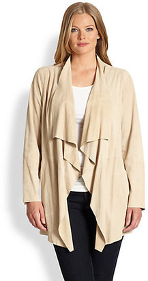 MICHAEL Michael Kors MICHAEL MICHAEL KORS, Sizes 14-24 Suede Draped-Front Jacket