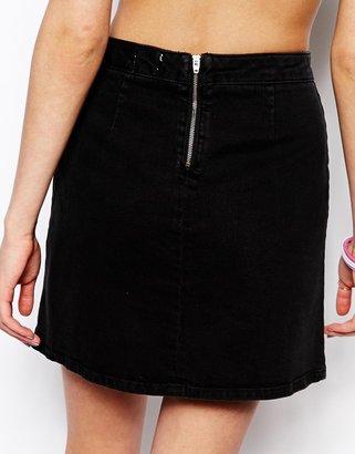Asos A-Line Denim Skirt in Washed Black