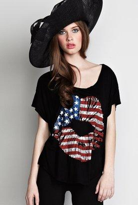 Lauren Moshi Audrey Color Flag Lip Scoop Tee in Black