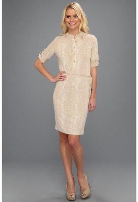 Calvin Klein Elbow Sleeve Henley Dress (Latte/Soft White Multi) - Apparel