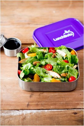 LunchBots Uno Stainless Steel Lunch Container, Purple Lid