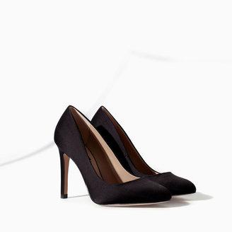 Zara Silk Satin High Heel Court Shoe
