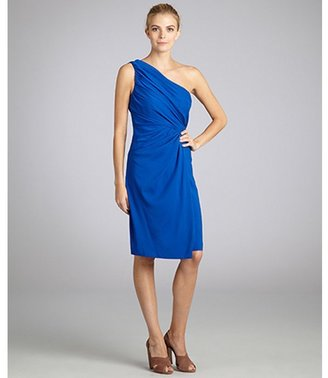 Suzi Chin royal blue one shoulder matte charmeuse drape dress