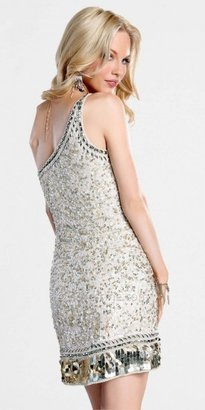 Scala Silver Embellished Sequin Prom Dresses