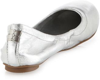 BCBGMAXAZRIA Molly1 Metallic Leather Ballet Flat, Silver