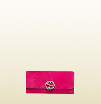 Gucci Broadway Suede Clutch With Crystal Closure