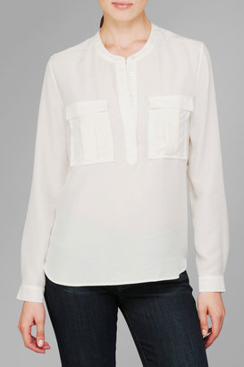 7 For All Mankind Double Pocket Henely In Blanc De Blanc