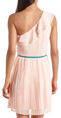 Charlotte Russe Belted One Shoulder Pleated Dress