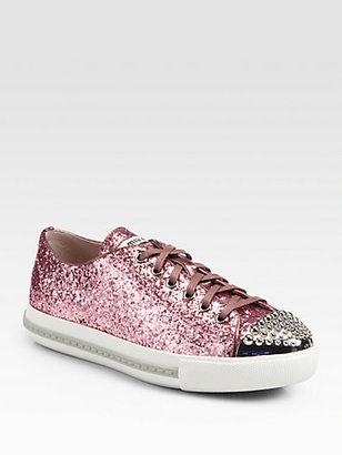 Miu Miu Studded Glitter Lace-Up Sneakers
