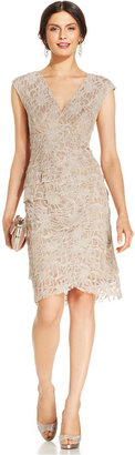 Jessica Howard Cap-Sleeve Tiered Lace Sheath $129 thestylecure.com
