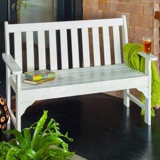 "Polywood Vineyard Plastic Garden Bench Size: 35.25"" H x 60"" W x 24"" D, Color: White"