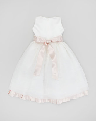 Joan Calabrese Organza & Satin Pleated Dress, Ivory/Light Pink