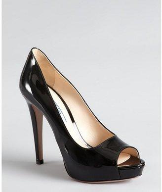 Prada black patent leather peep toe platform pumps