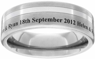 GETi Titanium Brushed and Off Centre Stripe Engraved 5mm Ring