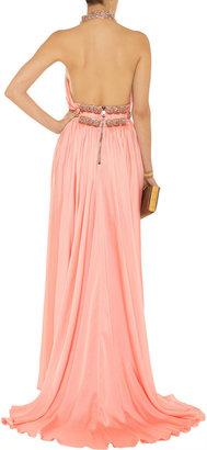 Balmain Embellished silk-satin gown