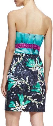 Mary Katrantzou Strapless Jewel-Print Short Cocktail Dress