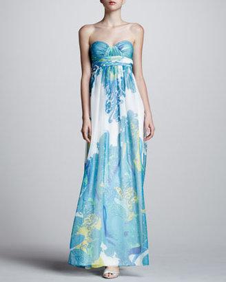 Aidan Mattox Paisley Sweetheart Gown, Blue