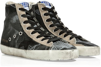 Golden Goose Black Tropical Canvas Francy Sneakers