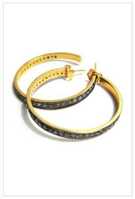 The Woods Gold and Pave Diamond Hoop Earrings