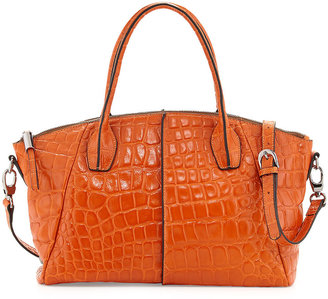 Charles Jourdan Della Croc-Embossed Leather Tote, Orange