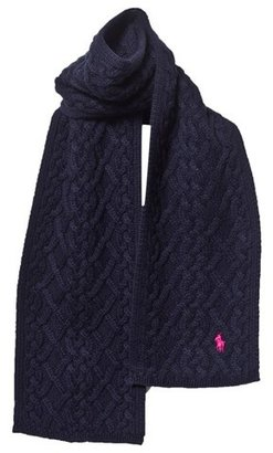 Ralph Lauren Navy Knitted Branded Scarf