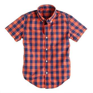 J.Crew Boys' Secret Wash short-sleeve shirt in autumn coral oversize gingham
