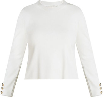 Veronica Beard Swan Crewneck Pullover with Buttons