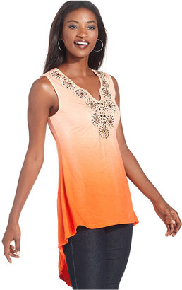 Style&Co. Top, Sleeveless Ombre Embellished High-Low