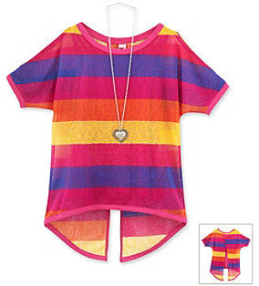 Beautees Girls' 7-16 Pink Striped Cold Shoulder Top with Necklace