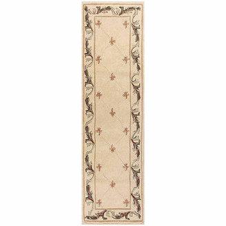 Kas Fleur de Lis 2'X8' Hand-Carved Wool Runner Rug