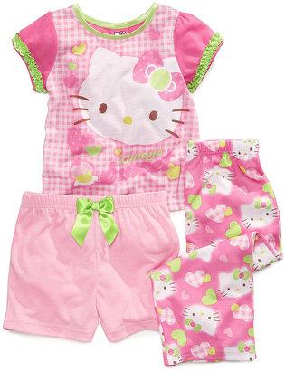 Hello Kitty AME Toddler Girls' 3-Piece Pajama Top, Shorts & Pants