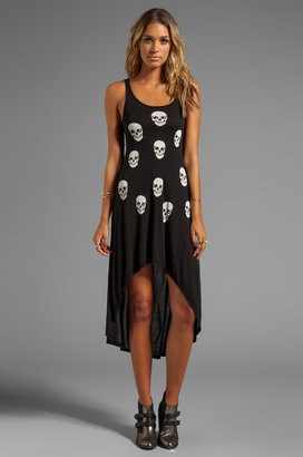 Lauren Moshi Daria Mini Skull Face Asymmetrical Tank Dress