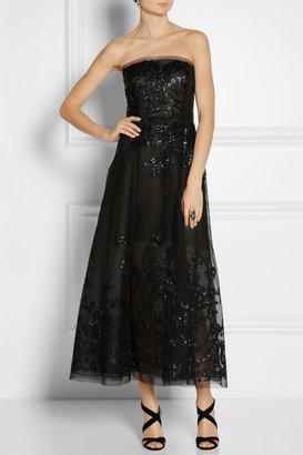 Oscar de la Renta Embellished tulle gown