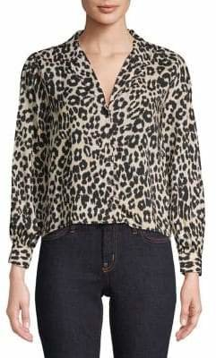 Topshop PETITE Jessica Leopard Print Blouse