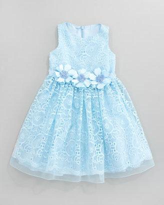 David Charles Lace Overlay Flower Dress, Aqua