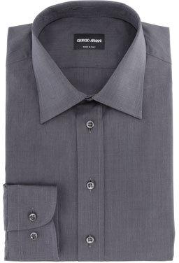 Giorgio Armani Solid Cotton Oxford Shirt, Charcoal